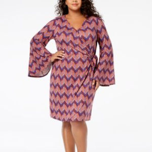 NY Collection 2X Bell Sleeve Wrap Dress A3-07